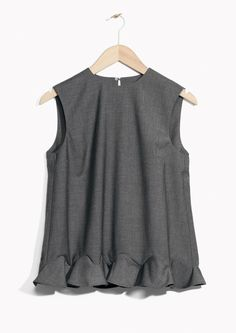 & Other Stories image 1 of Tailored Frills Top  in Grey