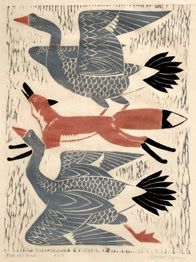 Illustration | Dahlov Ipcar: Woodcut Print // #fox #geese