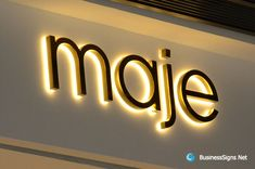 3D LED Backlit Signs With Mirror Polished Gold Plated Letter Shell & 20mm Thickness Acrylic Back Panel For Maje. If you need to custom signs like this, please click the image then fill out the form and tell us your needs now. Shop Signage, Restaurant Signage, Signage Design, Signage Board, Backlit Signage, Signage Light, Storefront Signs, Led Logo, Wall Logo