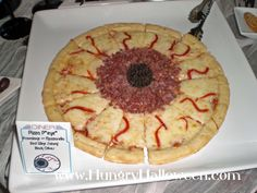 Hungry Halloween: Halloween Food - appet-EYE-sers. Cheese pizza. Add pepperoni or red pepper and black olives
