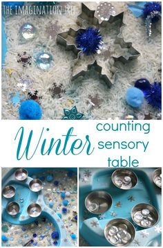 Put together a simple and inviting winter themed counting sensory table, for exploring textures, sorting and counting small amounts of tactile items in play