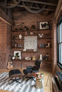 A young couple makes downtown their home in a contemporary industrial loft. Photography by Anne Matheis. #coffeeart