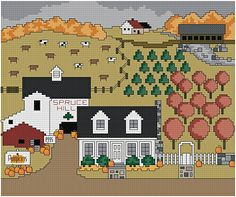Spruce Hill Autumn - Downloadable counted cross-stitch pattern from Thomas Beutel Original Designs: $6.99
