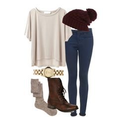 Eleanor inspired outfit for school by florencia95 featuring a purple beanie Grey Line By Hussein Chalayan cropped shirt / Topshop skinny fit jeans, $61 / ASOS thigh high socks / Steve Madden boots / Marc by Marc Jacobs marc jacob / River Island purple beanie, $21