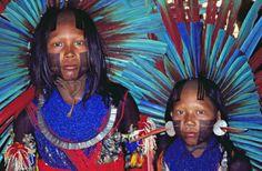Povos nativos do Brasil. Índios com pintura corporal e enfeites, além de um belo cocar. Deve ser dia de festa na tribo.
