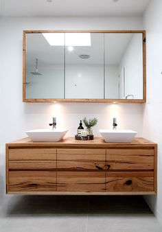 Recycled Timber Vanity With Matching Shaving Cabinet   Bombora Custom Vanity
