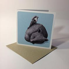 One very tired wombat and 1 Tawny Notecard - Renee Treml