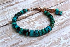 Turquoise Green Aqua Black Copper Chain Charms by Cheshujewelry, $28.00