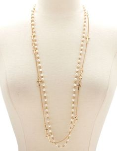 Pearls & Crosses Layered Necklace: Charlotte Russe