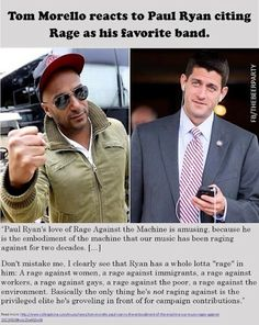 Oh my. Tom Morello of RATM tears Paul Ryan a new one.