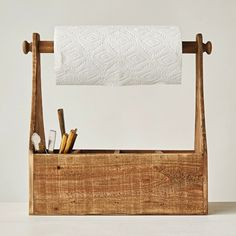 Wood Work Caddy with Paper Towel Holder