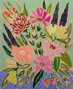 Lucie Wallace - feminine yet bold floral paintings.