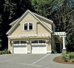 Pergola attached to the garage | carriage style garage doors and attached pergolas.