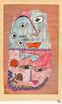 Paul Klee; Drüber und drunter, 1932. Aquarell auf Grundierung auf Papier auf Karton, 47,5 x 29,2 cm. Staatliche Museen zu Berlin, Nationalgalerie, Museum Berggruen; © 2010 ProLitteris, Zürich