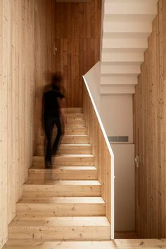 Built by H Arquitectes in Granollers, Spain with date Images by Adrià Goula. The plot is located in the historical city centre of Granollers and placed into an urban fabric of dwellings between . Brick Courtyard, Courtyard House, Patio Interior, Interior Stairs, Plywood Interior, Interior Design, Stairs Architecture, Architecture Details, Red Brick Walls