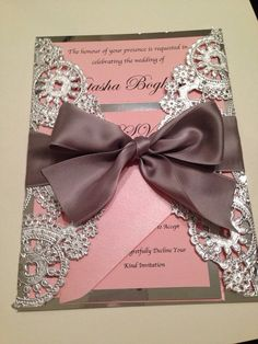 SAMPLE  Metallic Doilies Wedding Invitation Suite with Ribbon