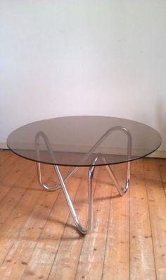Chroom en glas jaren 50 60 70 buisframe tafel Gispen Prijs: Bieden