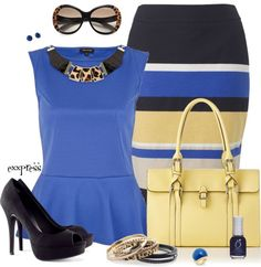 """Contest: Striped Pencil Skirt"" by exxpress on Polyvore"