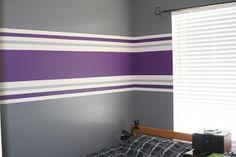 Just Plain Ivy: More Stripes Purple Striped Walls, Striped Walls Bedroom, Dark Bedroom Walls, Purple Bedroom Decor, Striped Room, Bedroom Wall Colors, Room Paint Designs, Bedroom Wall Designs, Boy Room Paint