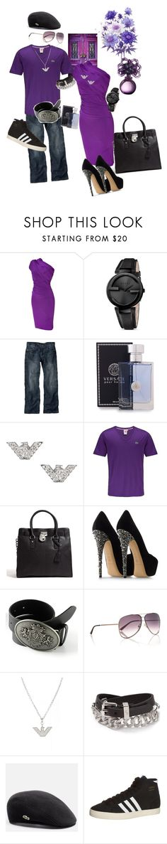 """""""Passionate Purple Couple"""" by pcperry ❤ liked on Polyvore featuring Donna Karan, Gucci, Versace, Emporio Armani, Lacoste, MICHAEL Michael Kors, Casadei, Armani Exchange, Marc by Marc Jacobs and adidas Originals"""
