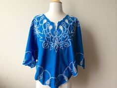 Vintage Embroidered Blue Butterfly Blouse by Baxtervintage on Etsy, $38.00