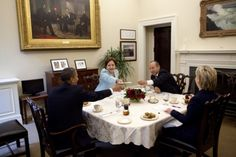 @Barack Obama, Secretary of State Hillary Rodham Clinton, Mexican President Felipe Calderon, and Mexican Foreign Secretatry Patricia Espinosa hold a bilateral meeting in the Private Dining Room