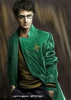 Auror Harry Potter by thanfiction. The green stands out so much! Harry Potter Draco Malfoy, James Potter, Harry Potter Fan Art, Harry Potter Universal, Harry Potter Fandom, Harry Potter World, Hogwarts, Slytherin, Severus Rogue