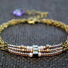 Bracelet bohème trois rangs violet et rose