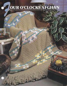 Four OClocks Afghan Annie's Attic Crochet Quilt & Afghan