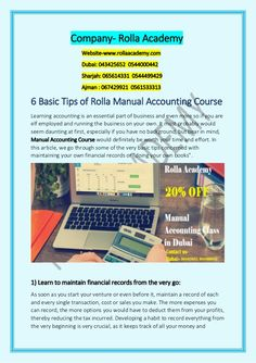 The 6 basic tips of Rolla Manual Accounting Course that how easily we learn and why Manual Accounting Classes is important for everyone. Accounting Course in Dubai is a most learning course in Dubai. Accounting Classes, Accounting Career, Accounting Course, Learning Courses, Personal Finance, Dubai, Manual, How To Become