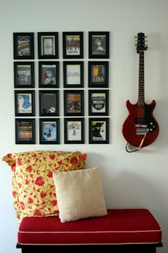 MUSIC ROOM/NOOK FOR KIDS Hang Your Guitar On The Wall For Easy Access.  Frame Your Favorite Album Cover Artwork To Add To The Display.