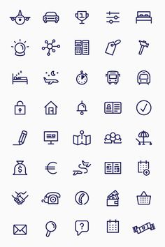 A SET OF PICTOGRAMS were designed to complement the playful illustrations. They are used throughout the website and the application to illustrate various functions. — Dohop by Bedow