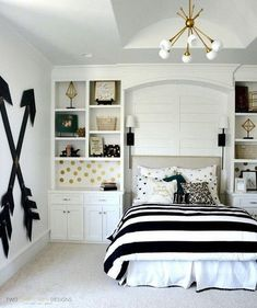 Beautiful Teenage Girls' Bedroom Designs - For Creative Juice Pottery barn teen girl bedroom with wooden wall arrows. Budget-friendly choice for a chic bedroom decor with this DIY wooden wall arrows. Easy and fun to make at home. Bedroom Ideas For Teen Girls, Teenage Girl Bedroom Designs, Teenage Girl Rooms, Teenager Rooms, Cute Teen Rooms, Pb Teen Rooms, Bedrooms For Teenagers, Diy Room Decor For Teens Easy, Beds For Girls