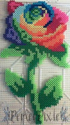 Rainbow Rose perler beads by PerlerPixie on deviantART