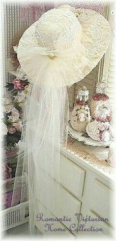 This looks a lot like my Wedding Picture Hat! Romantic, Victorian handcrafted Wedding hat and decor. Hat has pearl lace, roses, ribbons, swarovski crystals and pearl. Victorian Hats, Victorian Decor, Victorian Fashion, Wedding Hats, Wedding Veils, Wedding Ideas, Bridal Hat, Fancy Hats, Pearl And Lace