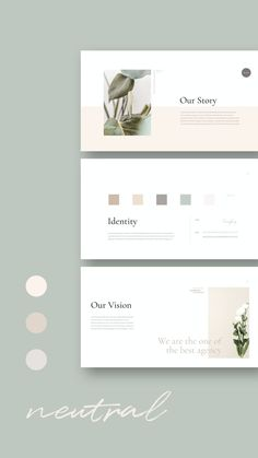 Neutral PowerPoint Template #moodboard #identity #branding #vision #guideline #powerpoint #keynote #ppt #presentation #emerald #greenery #templates #annualreport #AD