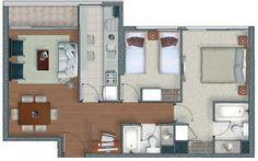 Tres tipos de planos en 60 metros cuadrados y 61m2 respectivamente. El primero tiene 3 dormitorios y 2 baños , el segundo y tercer departam...