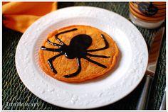Halloween Pumpkin Pancakes with Black Cinnamon Syrup