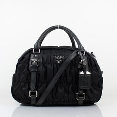 Prada Nappa Leather Puckered Medium Tote Bag Black 0397 [$168] from bagspurseonline.com