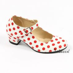 Spaanse schoenen wit/rood glossy www.laluzz.nl