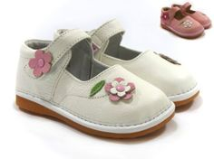 Girl Squeaky Shoes, White/Pink, Pink/White Flowers, Removable Squeaker (Toddler/kid/children) Squeaky Shoes HLT. $28.99