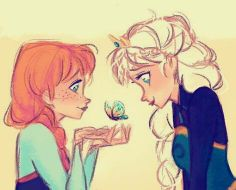 Elsa and ANNA w/ a butterfly