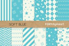 Blue Floral Digital Paper  by FOXYdigitalart on @creativemarket