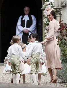 Catherine, Duchess of Cambridge arrives with the pageboys and flower girls for the wedding of Pippa Middleton and James Matthews at St Mark's Church on May 20, 2017 in in Englefield, England.