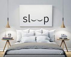 sleep Bedroom Printable Poster Typography Print Black &