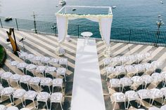 Ceremony overlooking the sea. Slowly things are going back to normal, but I will have to wiait a bit longer berofe planning an other ceremony in front of the sea.  I can use this time becoming melancholic, or looking for new places and new ideas to create an amazing new ceremony decor. . #weddingdecor  #destinationwedding #weddingdestination #destinationweddingplanner #sorrentowedding #weddingplanner Ceremony Decorations, Table Decorations, Sorrento Weddings, Destination Wedding Planner, Sea, How To Plan, Create, Amazing, Places