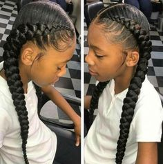 53 Box Braids Hairstyles That Rock - Hairstyles Trends Box Braids Hairstyles, Two Cornrow Braids, Girl Hairstyles, 2 Braids With Weave, Simple Braids, Short Braids, Short Hair, Long Hair, Ghana Braids