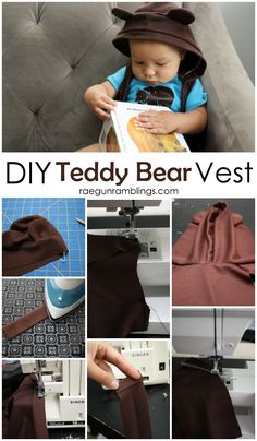 Step by Step directions on how to make your own pattern for a hooded teddy bear vest and sew it - Rae Gun Ramblings