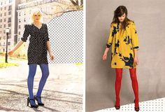 colored tights inspiration. I love colored tights!!!