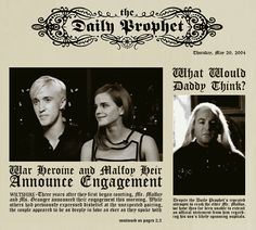 I guess Lucius is not that excited?! ;) #Dramione #DailyProphet #engagement